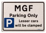 MGF Car Owners Gift| New Parking only Sign | Metal face Brushed Aluminium MGF Model